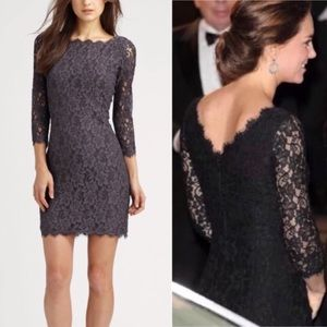 DVF gray lace Zaria dress size 6